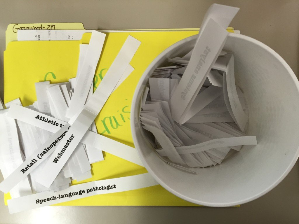 paper strips with career names printed on them sitting on a yellow folder
